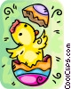 Vector Clipart graphic  of a Easter chick hatching