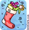 Christmas stocking filled with gifts Vector Clipart illustration