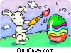 The Easter bunny painting an egg Vector Clipart illustration