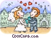 Bride and Groom Vector Clipart image
