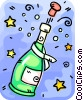 Opened Champagne bottle Vector Clip Art graphic