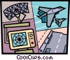 Air Traffic Control Vector Clipart illustration
