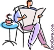 man reading his newspaper while having coffee Vector Clip Art image