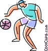 Vector Clipart picture  of a boy dribbling a basketball