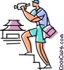 Vector Clip Art graphic  of a Traveler and his video camera