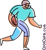 Football player running the ball Vector Clip Art picture
