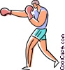 Fighter warming up Vector Clipart illustration