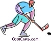 Vector Clipart illustration  of a Hockey player skating down the