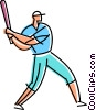 Vector Clipart illustration  of a Batter ready for the pitch