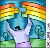 Vector Clipart image  of a Chasing Rainbows