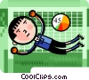 Soccer Players Vector Clipart graphic