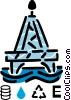 Vector Clipart picture  of a Offshore Drilling Platforms