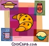 Croissant with coffee, jam and rolling pin Vector Clipart image