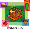 Picnic basket with sandwiches, apple and cake Vector Clip Art image