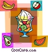 Bowl of fruit with watermelon, bananas & apples Vector Clip Art graphic