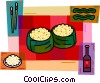 Japanese dish with rice and Soya sauce Vector Clipart picture