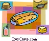 Crepes with cheese, jam & frying pan Vector Clipart illustration