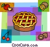 Cherry pie with cherries, apples and nuts Vector Clipart graphic