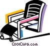 Vector Clipart graphic  of a Deck Chairs and Beach