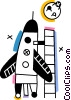 Vector Clip Art graphic  of a Space Shuttles and Capsules