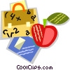 Vector Clipart picture  of a school bag and books with an