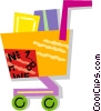 Vector Clip Art image  of a shopping cart filled with