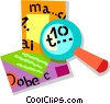 Vector Clipart illustration  of a magnifying glass and envelope