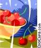 Bowl of cherries Vector Clipart picture
