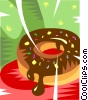 Vector Clipart illustration  of a chocolate donut