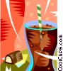 Vector Clipart illustration  of a cold drink and a pastry