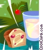 muffin and milk Vector Clipart illustration