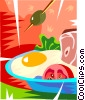 eggs and ham with a tomato Vector Clipart graphic