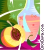 Vector Clip Art image  of a peach and juice