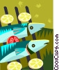 Vector Clipart image  of a Fish on a grill