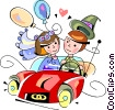 Vector Clipart illustration  of a Bride and groom going on their