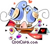 Vector Clip Art image  of a Love Birds