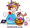 Vector Clip Art image  of a Girl with a basket of Easter