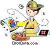 boy painting a picture of an Easter egg Vector Clipart image