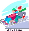 children speeding down a hill on their toboggan Vector Clipart image