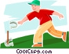 boy playing horse shoes Vector Clipart image