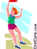 girl jumping for a Frisbee Vector Clip Art picture
