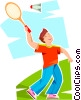 Boy playing badminton Vector Clipart illustration