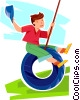 Vector Clip Art image  of a boy swinging on a tire swing