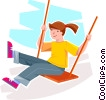 Girl on a swing Vector Clip Art picture