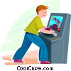 Vector Clip Art image  of a Boy playing a video game