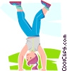 Vector Clipart graphic  of a girl walking on her hands