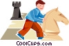 boy playing chess with an over size chess piece Vector Clip Art picture