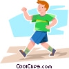 Vector Clip Art image  of a Boy walking