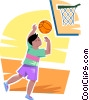 Boy playing basketball Vector Clipart graphic