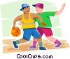 Vector Clipart illustration  of a Boys playing basketball